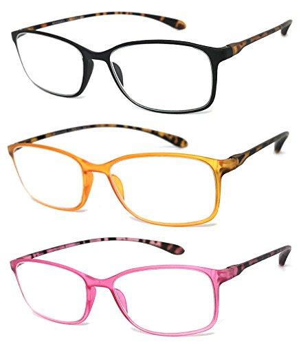 VeryHobby Rechteckig Voll freie Objektiv-Lesegläser Bunte dünnen Rahmen (Paare - Schwarz/Orange/Pink, 3,00) klar 3 3 Paare - Schwarz/Orange/Pink -