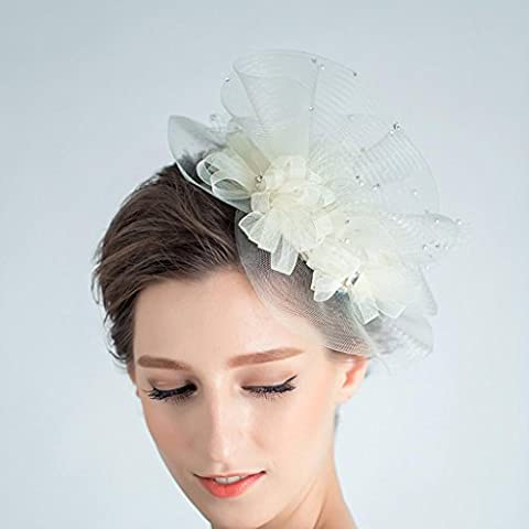ZYQYJGF Velo Grande Fiore Copricapo Da Sposa Cappelli Fatti A Mano Donna Perle Paillettes (Cappelli Vittoriani Per Le Donne)
