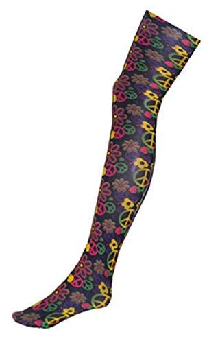 erdbeer-clown - Flower Power Hippie Strumpfhose, Strümpfe 70er Peace & Love, (Girl Material Madonna Kostüme Halloween)