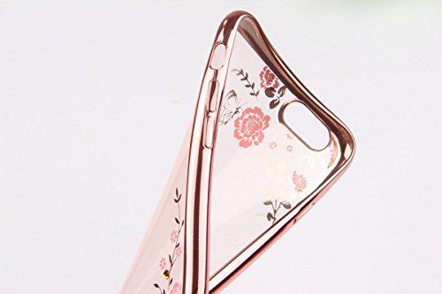 iPhone 7 Hülle,iPhone 7 2016 Hülle,JAWSEU Luxus Silber Klare Ultradünne Silikon Gel Schutzhülle Durchsichtig Kristall Transparent TPU Silikon Bumper Schutz Handyhülle Case Tasche Etui für iPhone 7 4.7 Pink Blumen,Rose Gold