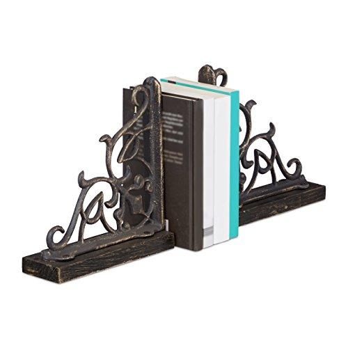 Relaxdays Buchstützen 2er Set Gusseisen, Holzsockel, Groß Schwer, Antik-Stil, HBT: 21,5 x 6,5 x 20 cm, dekorativ, bronze (Brief Buchstützen)