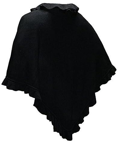 Cape Trachtentuch Poncho Umhang Stola Schultertuch Tuch Strickponcho Tracht, Farbe:schwarz (Brown Kleid Jeans)