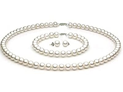 "StunningBoutique Ellena Freshwater Pearls sets White Culture Pearl Necklace 8-9 mm with 16"" 18"" 20"" Inches difference lengths to choose from & Matching Stud Earring Set as a FREE Gift"