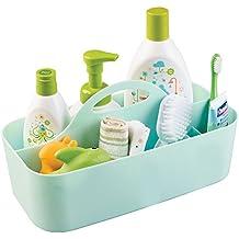 mDesign Organizer multiscomparto – Perfetto portaoggetti per prodotti per neonati e bambini – Shampoo, termometro, lozioni – misura media, color menta