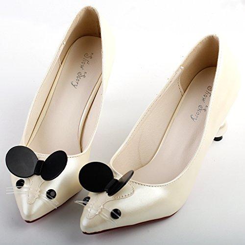 Visualizza storia Carino Mouse femminile punta tacco perla squisita Abito décolleté, LF60408 Beige