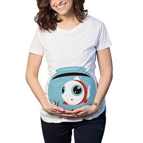 Frauen Runde Cartoon Print Mutterschaft Schwangere T-Shirts Baumwolle Nette Schwangerschaft Mutterschaft Kleidung Sommer T-Shirt