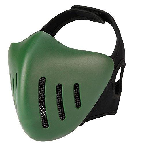SGOYH Airsoft Paintball Schutzausrüstung Untere Gesichtshälfte Masken Tactical Metal Mesh Maske für Jagd Cosplay Halloween BBS CS Spiel (OD)