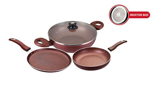 Usha Shriram Non-Stick 3-Piece Cookware Set, Marble Finish(Induction and Gas Compatible)