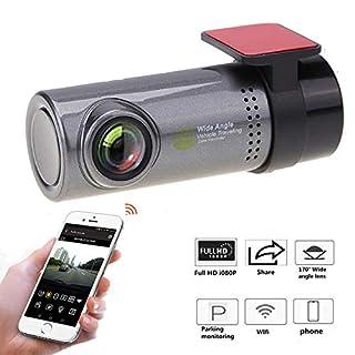 WiFi Dash Cam D6 Pro FHD 1080P Dashboard Camera Recorder Car Dash Cam mit Super Night Vision G-Sensor WDR, Loop Recording,300°Rotate