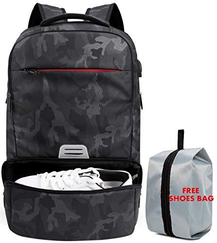 Laptop-Reiserucksack für 15.6 Zoll, Hohe Kapazität RFID Business-Rucksack Wasserfest College-Computer-Tasche für Männer und Frauen mit USB Anschluss und Schuhabteil Schwarz Camo -