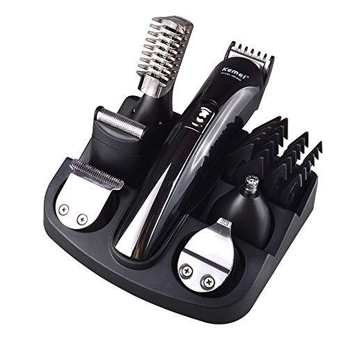 Rasierer, Herren Elektrische Haarschneidemaschine 6 in 1 Set, Kemei Nasenhaarschneider, Beschriftung Trimmer, Körperhaartrimmer, Mikrorasierer, Präzisionstrimmer, Haarschneider für Männer - Schwarz - Body Razor Electric