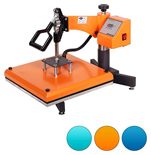 RICOO Transferpresse T538B-GS [38x38cm] T-Shirtpresse Heat Press Thermopresse Textilpresse für Transfer-Folie Transfer-Papier || Gelb/Orange ||