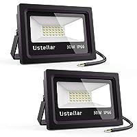 Ustellar 2 Pack LED Floodlight 30W, IP66 Waterproof Outside Flood Lights Outdoor Security Lights, 150W Halogen Bulb Equivalent, 2400lm, 5000K Daylight White Floodlights for Garden