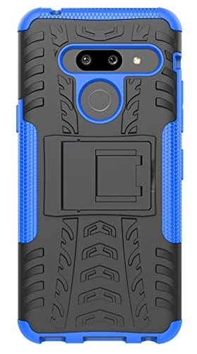 Tianqin LG G8 ThinQ Hülle, Stoßabweisende Doppelte Schutzschicht Fallschutz Schutzhülle Case Drop Resistance Bumper Rückdeckel Mit Ständer für LG G8 ThinQ - Blau