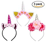 Rocita 3Pcs Unicorn Horn Headbands with Ears And Flowers for Kids Adults Party Headdress