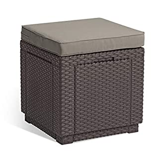 Keter Outdoor Garden Storage Seat Stool with Cushion, Brown with Taupe Cushion