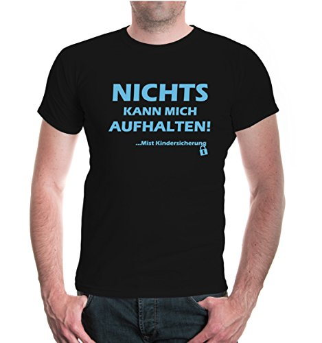 buXsbaum® T-Shirt Nichts kann mich aufhalten - Mist Kindersicherung Black-Skyblue
