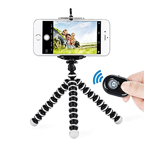 Tobeape Tripod for iPhone, 3 in 1 Octopus Style Portable Tripod, Adjustable Tripod Stand + Cell Phone Mount + Bluetooth Wireless Remote Shutter for Camera, GoPro, iPhone, Samsung Galaxy and More