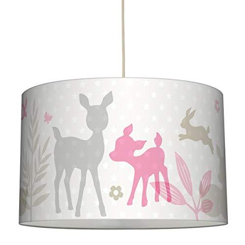 lovely label Hängelampe HÄSCHEN & REHE ROSA/GRAU/BEIGE - Lampenschirm für Kinder/Baby, Schirm mit Rehkitz, Hasen und Sternen - Komplette Hängeleuchte für Kinderzimmer Mädchen & Junge (Mädchen Hängelampe)