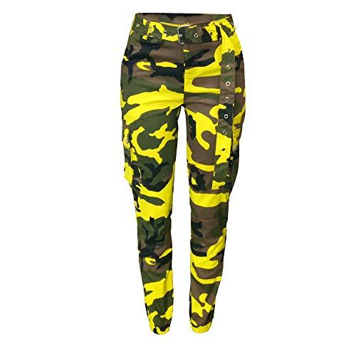 Multi-pocket Hose (piannao Damen Sport Camouflage Hose Gürtel Laufhose Bunt Sporthose Seiten Taschen Reißverschluss Multi-Pocket Jogger Pants Trainingshose)