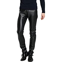 Zhhlinyuan Hombres Cuero de PU Pantalones Ajustados Thickening Plus Velvet Motorcycle Casual Trousers Slim Fit Stylish Designed