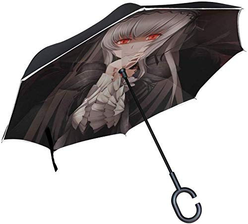 Anime girl occhi gotici ombrello invertito rosso ombrello reversibile per auto a doppio strato esterno per pioggia da sole