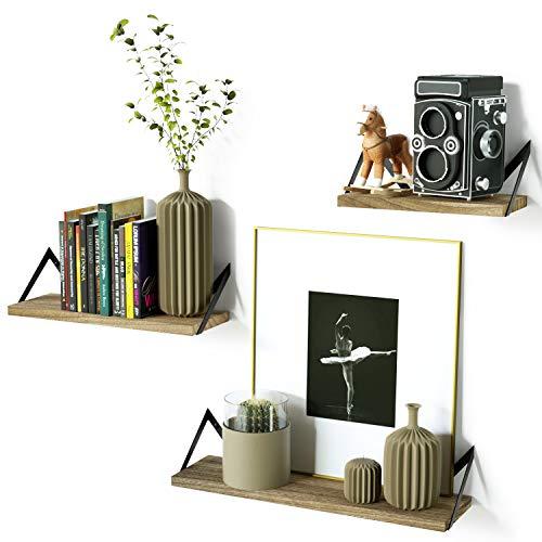 RooLee Flottant étagères étagère Murale décorative en Fer Style rétro avec Affichage et de Stockage de Bois Book Shelf Lot de 3