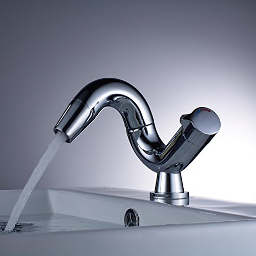 Aimadi Design Mischbatterie Bad Wasserhahn Badarmatur Waschtischarmatur Waschbeckenarmatur Waschbecken Badezimmer Chrom