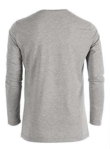 YTWOO Herren Langarmshirt (Longsleeve) Rundhals-Ausschnitt aus Bio-Baumwolle Schwarz bis XXL und Slub-Baumwolle in verschiedenen Farben,nachhaltige und faire Mode Organic Heather Grey