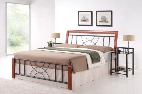 Ehebett Lattenrost Bettgestell Doppelbett Bett Schlafzimmerbett CORTINA NEU 160cm x 200cm Kirsche (CORTINA2)