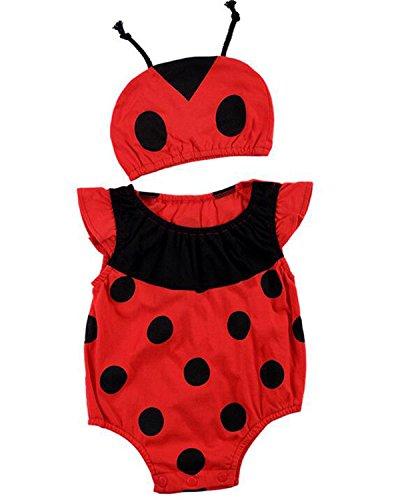 Kidsform Baby Animals Models Hare Cosplay Haggis Onesies Sombreros Algodón Pijamas de Estampado de Verano Ladybug 12-18M