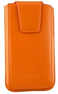 Emartbuy® Sleek Range Orange Luxury PU Leather Slide in Pouch Cover ( LM2 ) With Magnetic Flap & Pull Tab Suitable For HTC One M7