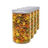 Set 4 Vorratsdosen aus Lebensmittelqualität Polyäthylen, 1,3 L (18x10 cm), mit Schraubverschluss. Recycelbar. 100% Ohne BPA.