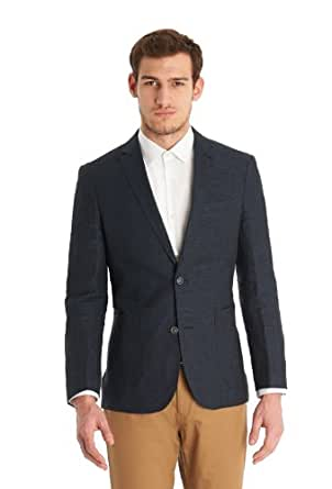 DKNY Slim Fit Navy Linen Jacket 42R Blue
