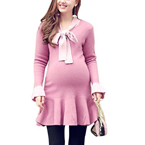 Anguang Langarm Strickkleid Elegant Rüschen Damen Bandage Warme Mutterschaft Schwangerschafts Kleider Pink XL (Zusammen Stricken Kleid)