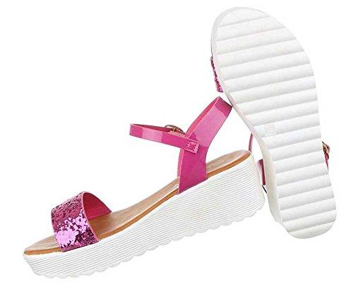 Sandaletten Damen Schwarz Sandalen Pink Schuhe Exqf6xz