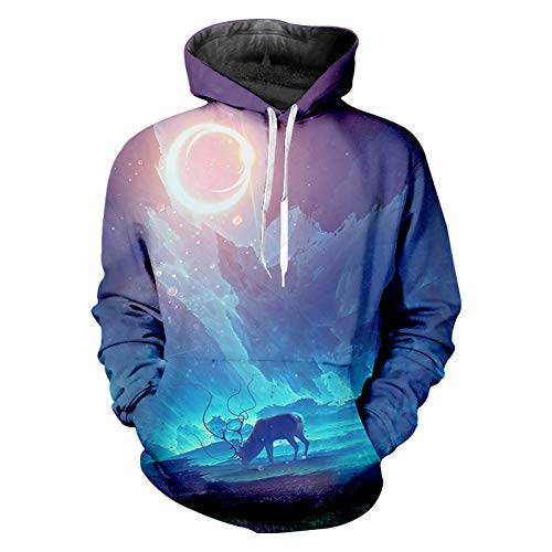 QAQOQwQ Sudadera Capucha niños Otoño Otoño Sudaderas con Capucha Hombre Estampado Fresco Galaxy Space 3D Sudadera Ciervo Animal Sudadera con Capucha Hombre Culturismo Fitness Casual Jumpers