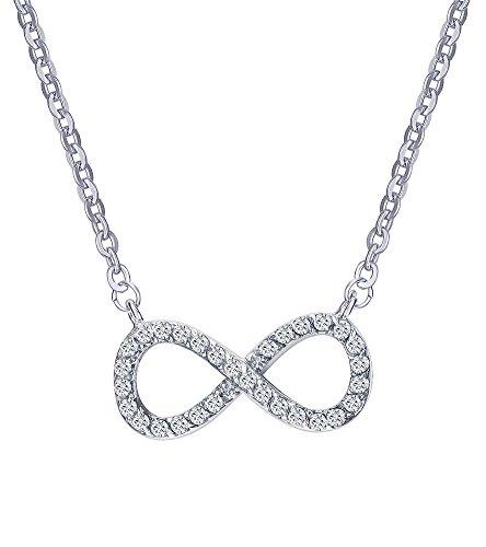 Gioielli collana ciondolo a forma di simbolo dell' infinito joielavie eternity one direction 8zircone in acciaio inossidabile fascino regalo per ragazze donna–argento (con sacchetto regalo)