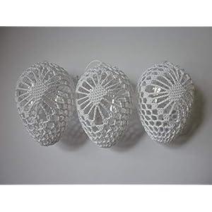 3x Eier, Ostereier umhäkelt, weiß, 9cm