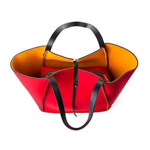 Almo - Sac à épaule pour Femme en mousse avec manches en cuir véritable rouge