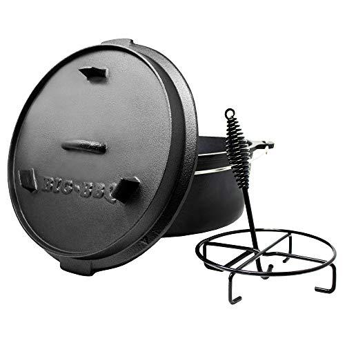 ToCis Big BBQ Premium Dutch Oven 12.0 Gusseisen eingebrannt 14er Kochtopf mit Deckelheber Deckelständer ohne Füße