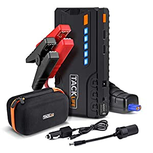 Auto Starthilfe, TACKLIFE T6 16500mAh Tragbare Starthilfe Powerbank für 12V Fahrzeuge (bis zu 6.2L Benzin 5.0L Dieselmotor), Autobatterie Anlasser mit Quick Charge 3.0, Dual USB, LED Taschenlampe