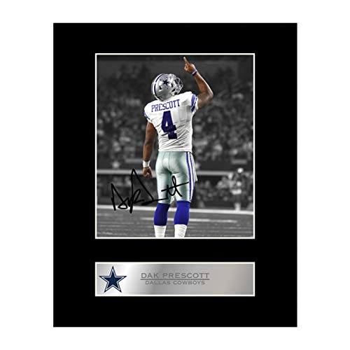 DAK Prescott Signiert Foto Display Dallas Cowboys