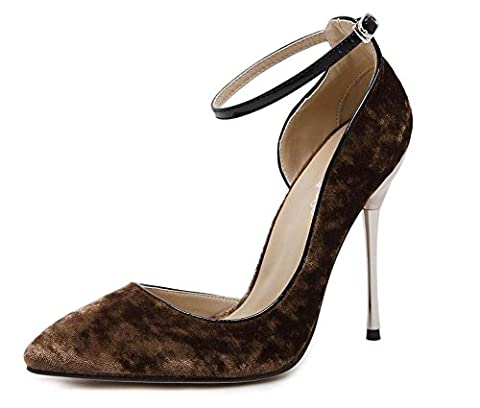 ANKLE STRAP D`ORSAY SATIN PUMPS POINTED TOE HIGH HEEL SANDALS FOR WOMEN COURT SHOES , khaki , 40