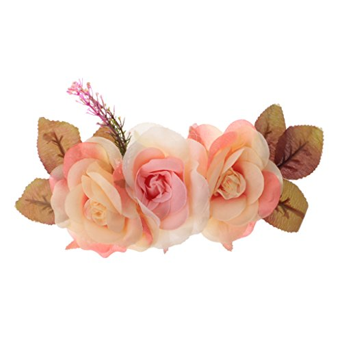 MagiDeal Seide Blumen Künstliche für Braut Haarklammer Hochzeit Dekoration Blumenköpfe - rosa Rosen, 7cm