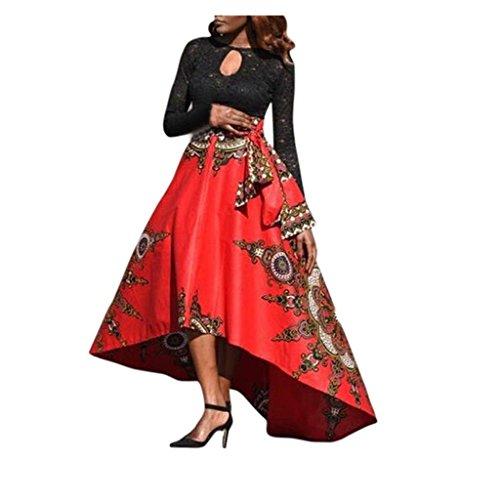 Frauen Röcke VENMO Neue afrikanische Frauen gedruckt Sommer Boho lange Kleid Strand Abend Party Maxi Rock (M, Red) (Kleid Satin Gedruckt)