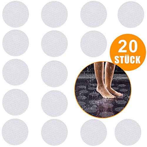 BALFER® 20 STÜCK Premium Antirutsch Aufkleber - Antirutschmatte Badewanne - Antirutschmatte Dusche - Anti Rutsch Badewanne rutschfest Sticker Set mit Kunststoffschaber