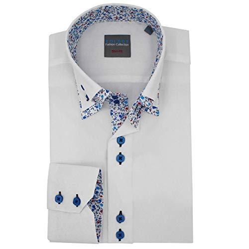 Toldot Mann weiß Doppel-Kragen ausgestattet Hemd mit zweireihigen Büste und Auskleidungen zu blauen Blumen - S, Weiß