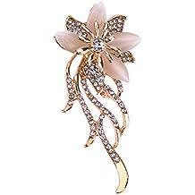 La Cabina Cristal Strass Broche -Broche Mariage -Broche Décoré Vêtement et Festival Bijoux Multicolore Fleur (fleur 01)