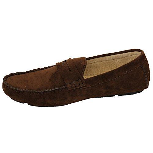 Schuhe Wildleder Bügel Boot Mokassins Slipper Troddel Braun Ohne Gh603 Smart Look Formaler Herren 5SYwtaxqS